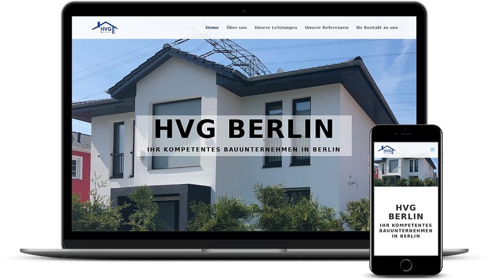 Kreative Website Erstellung - Referenz Bauunternehmen HVG Berlin Webdesign