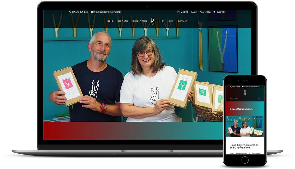Kreative Website Erstellung - Referenz Kunsthandwerk Brauchtumskerzen Webdesign