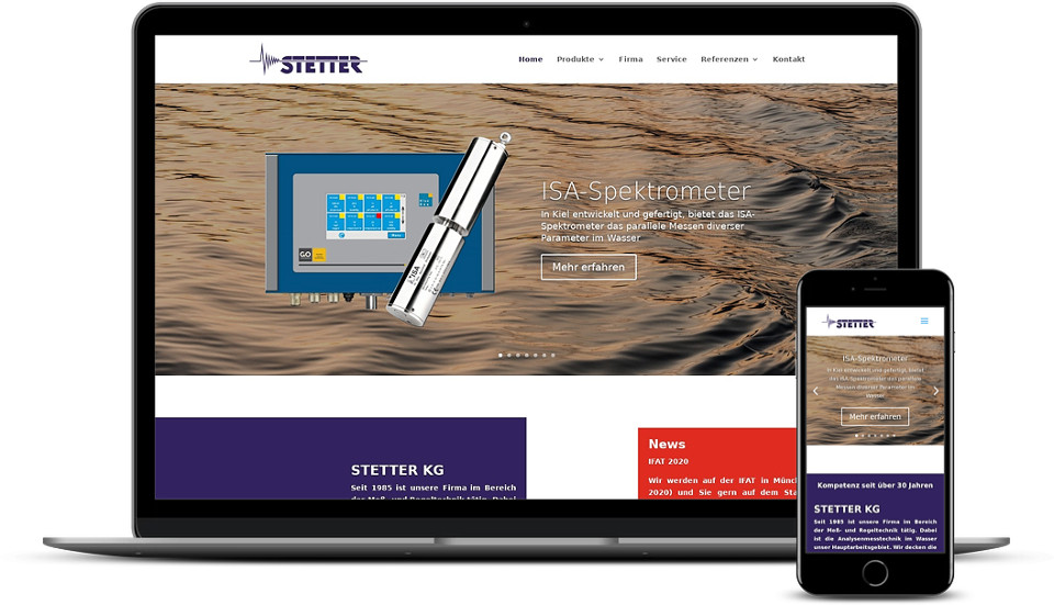 Kreative Website Erstellung - Referenz Messtechnik Industrie Stetter KG Webdesign