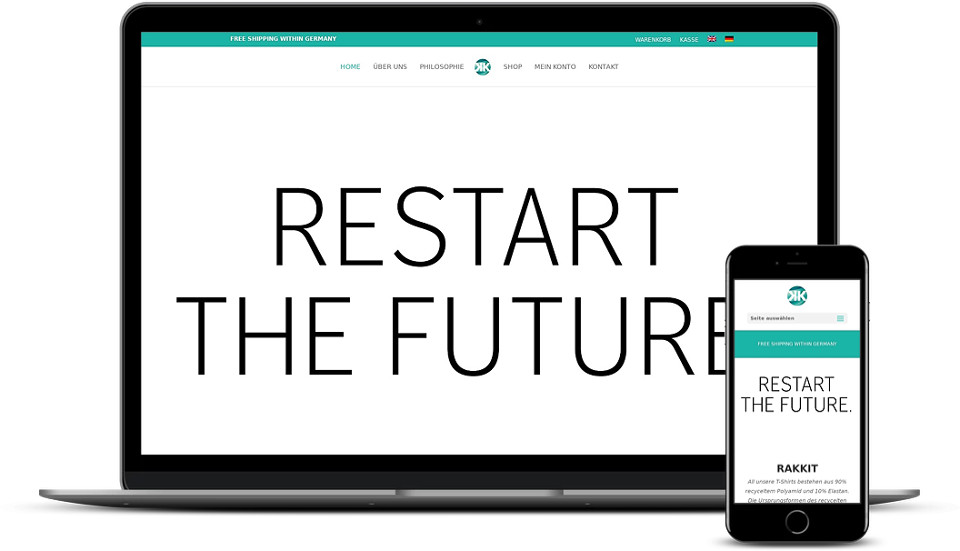 Kreative Website Erstellung - Referenz Startup Bekleidung Rakkit Webdesign