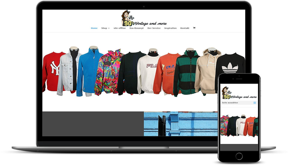 Kreative Website Erstellung - Referenz Startup Second Hand Bekleidung She 90s Vintage Webdesign