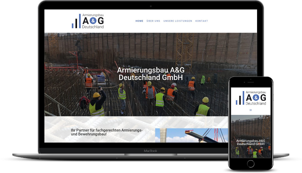 Kreative Website Erstellung für Baubranche Armierungsbau Webdesign