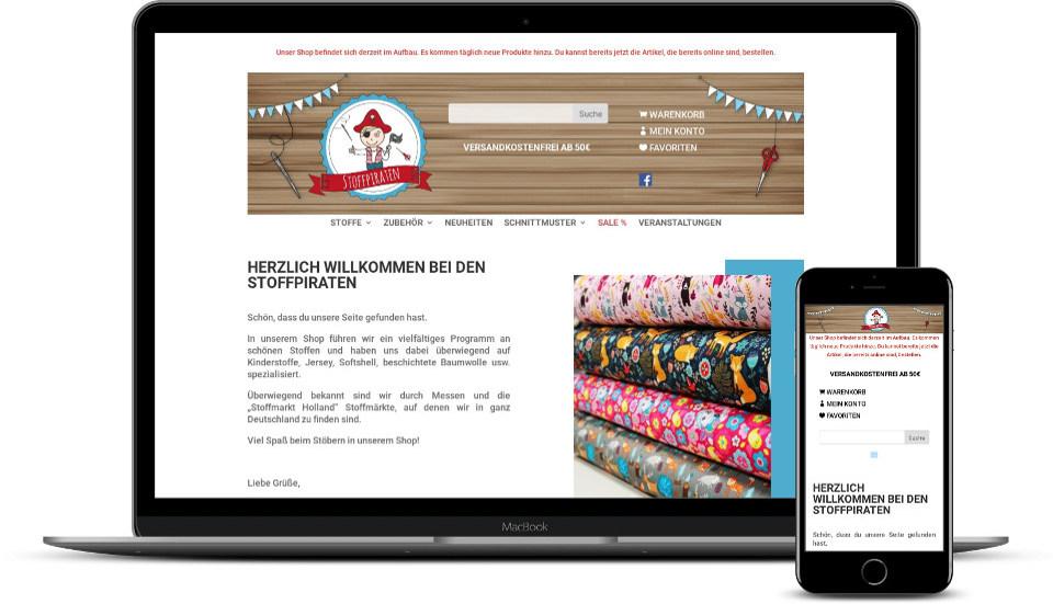 Webdesign Webshop Textilien Textilunternehmen Kleidung