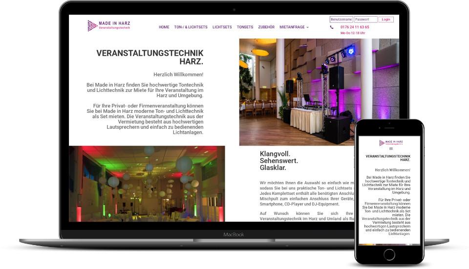 Kreative Website Erstellung Referenz Mietshop Veranstaltungstechnik Harz Webdesign