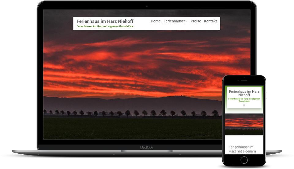 Kreative Website Erstellung Referenz Ferienhausvermietung Website