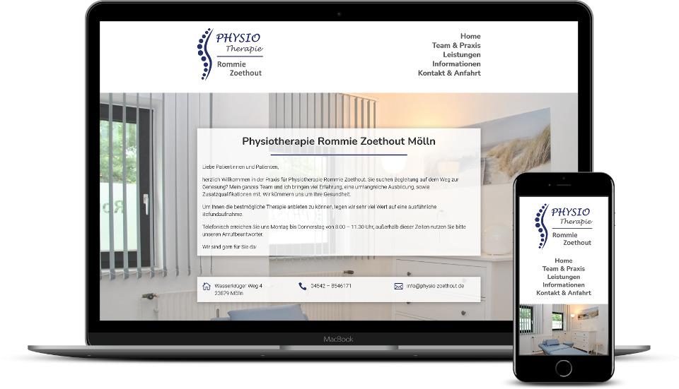 Kreative Website Erstellung Referenz Physiotherapiepraxis Webdesign